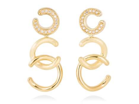 Earrings BORNEO white in golden silver