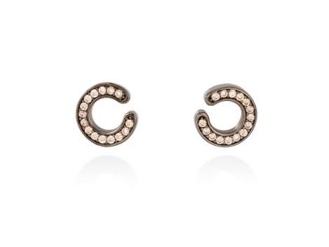 Earrings FITJI cognac in black silver