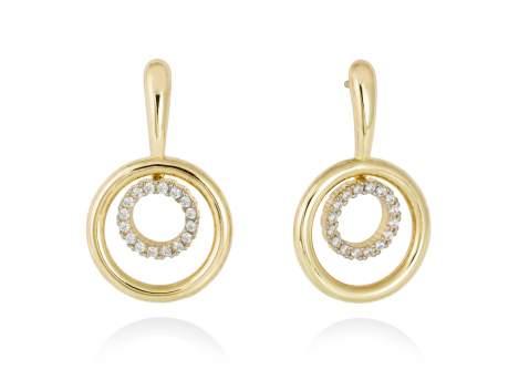 Earrings PAPUA white in golden silver