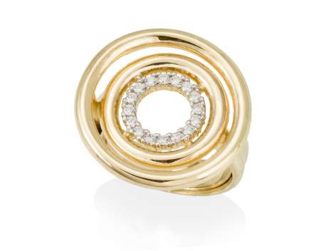 Ring PAPUA white in golden silver