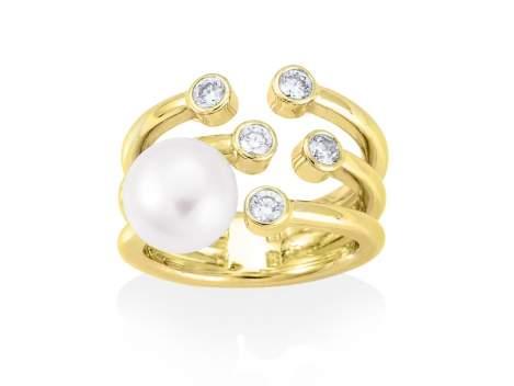 Ring HANOI pearl in golden silver
