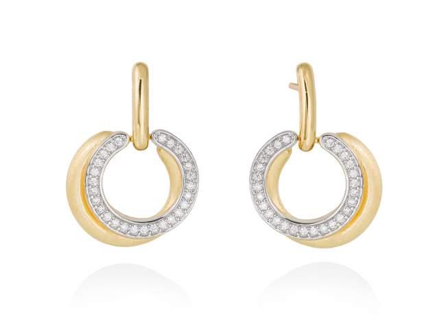 Ohrringe FITJI weiß in silber vergoldet de Marina Garcia Joyas en plata Ohrringe in Silber (925) vergoldet in 18 Karat Gelbgold und Zirkonia weiß. (Größe: 3 cm)