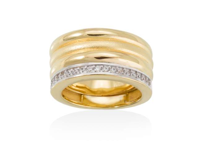 Ring FITJI white in golden silver de Marina Garcia Joyas en plata Ring in 18kt yellow gold plated 925 sterling silver with white cubic zirconia.