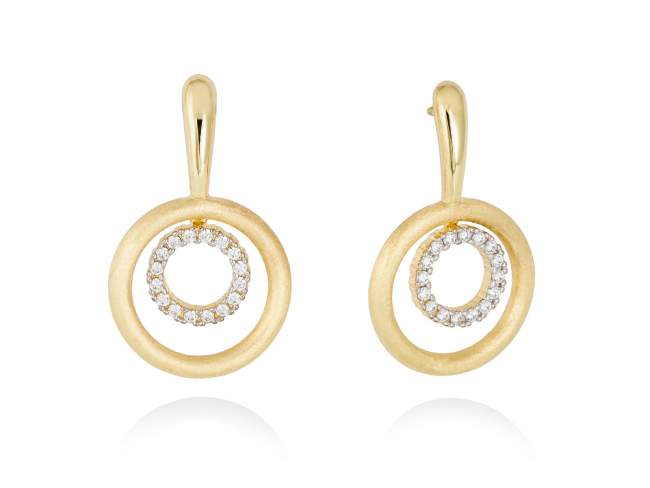 Earrings PAPUA white in golden silver de Marina Garcia Joyas en plata Earrings in 18kt yellow gold plated 925 sterling silver with white cubic zirconia. (size: 3,3 cm.)