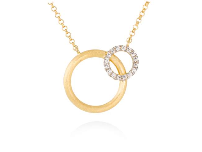 Necklace PAPUA white in golden silver de Marina Garcia Joyas en plata Necklace in 18kt yellow gold plated 925 sterling silver with white cubic zirconia. (length: 42+5 cm.)