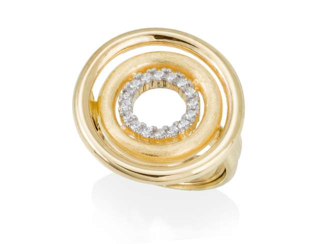 Ring PAPUA white in golden silver de Marina Garcia Joyas en plata Ring in 18kt yellow gold plated 925 sterling silver with white cubic zirconia.