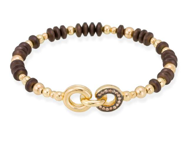 Bracelet FITJI cognac in golden silver de Marina Garcia Joyas en plata Bracelet in 18kt yellow gold plated 925 sterling silver with cognac cubic zirconia and brown coated hematite. (wrist size: 17 cm.)