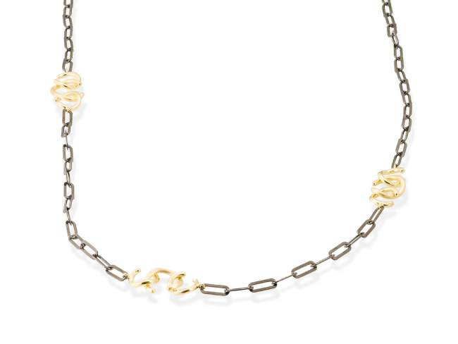Necklace FITJI golden in black silver de Marina Garcia Joyas en plata Necklace in 18kt yellow gold and ruthenium plated 925 sterling silver. (length: 91 cm.)