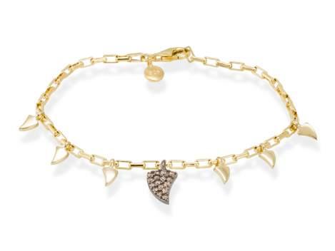 Bracelet LOU cognac in golden silver