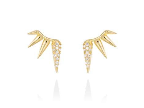 Earrings QUEEN white in golden silver
