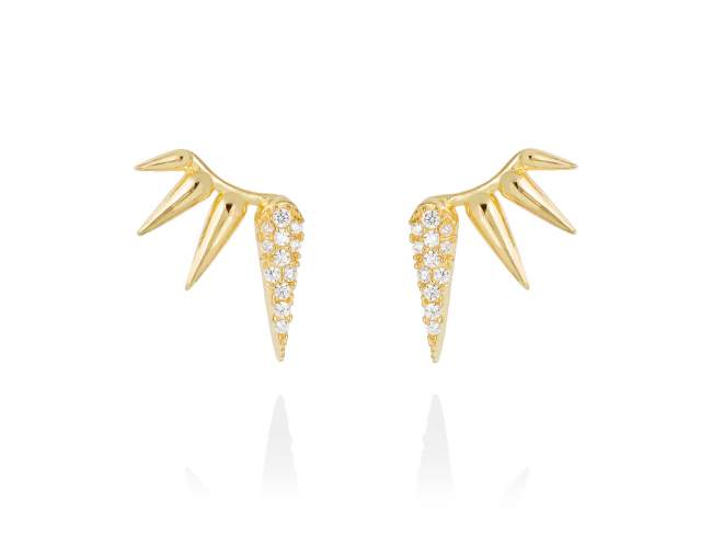 Earrings QUEEN white in golden silver de Marina Garcia Joyas en plata Earrings in 18kt yellow gold plated 925 sterling silver and white cubic zirconia. (dimensions of the jewel: 15 x 10 mm.)