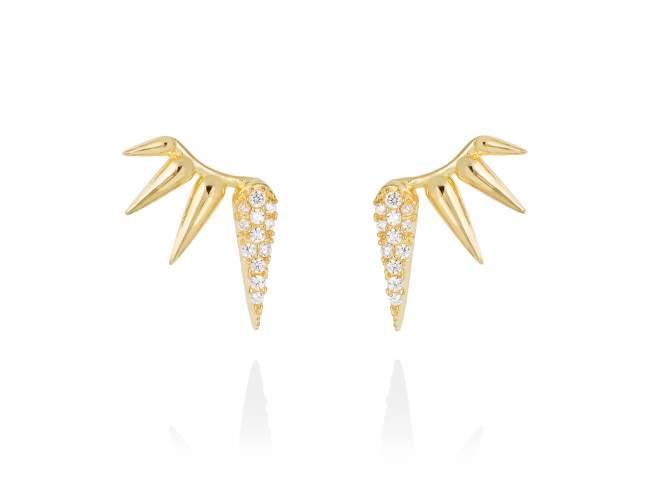 Ohrringe QUEEN weiß in silber vergoldet de Marina Garcia Joyas en plata Ohrringe in Silber (925) vergoldet in 18 Karat Gelbgold und Zirkonia weiß. (Maße des Schmuckstücks: 15 x 10 mm.)