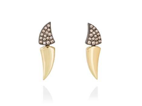 Earrings LOU cognac in golden silver