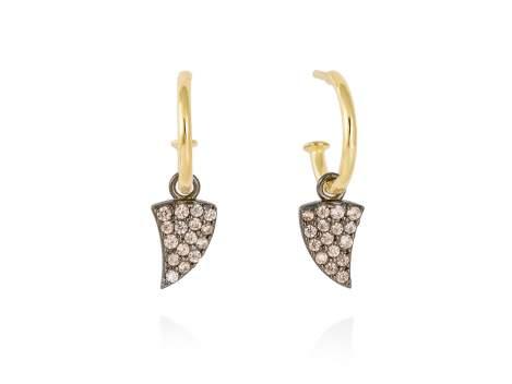 Earrings WILD cognac in golden silver