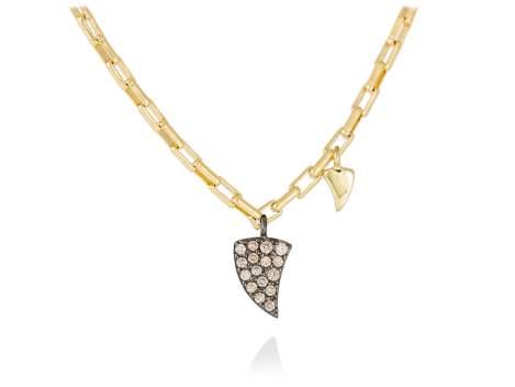 Necklace LOU cognac in golden silver