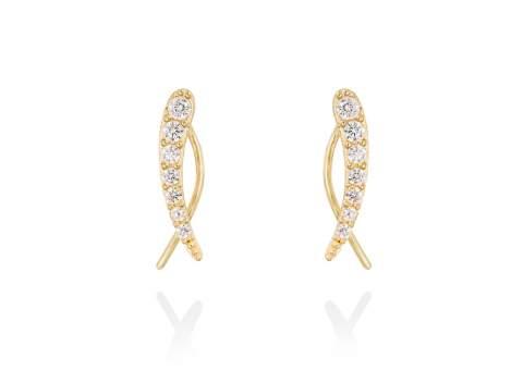 Earrings GUN white in golden silver