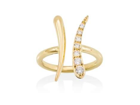 Ring GUN white in golden silver