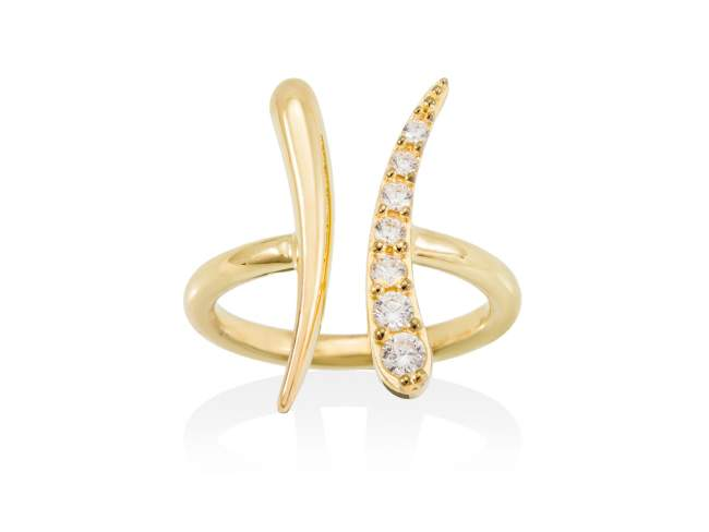 Ring GUN white in golden silver de Marina Garcia Joyas en plata Ring in 18kt yellow gold plated 925 sterling silver and white cubic zirconia.