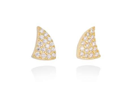 Earrings REBEL white in golden silver