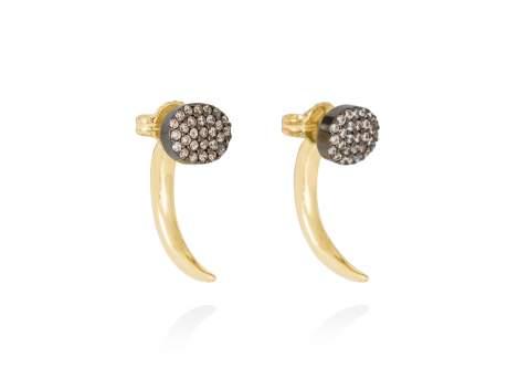 Earrings DYLAN cognac in golden silver