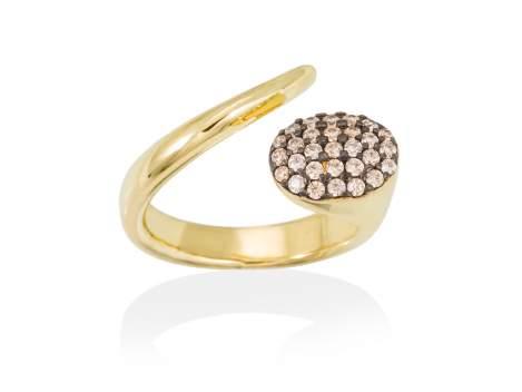 Ring DYLAN cognac in golden silver