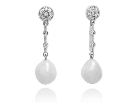 Pendientes largos novia con perlas en plata