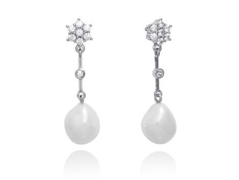 Pendientes novia perla y roseta en plata