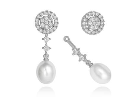 Pendientes novia con perla desmontables en plata