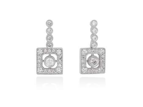 Pendientes de novia VINTAGE cuadrados en plata