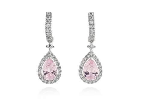 Pendientes LAGRIMA novia rosa en plata