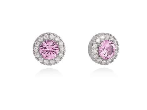 Pendientes para novia ORLA rosa en plata