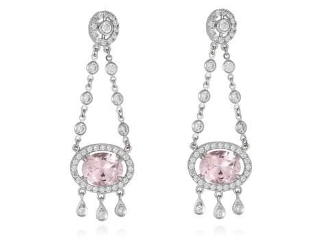 Pendientes de novia CHANDELIER rosa en plata