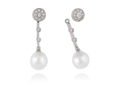 Pendientes de perlas para novias desmontables en plata