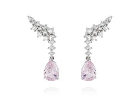 Pendientes TREPADORES novia rosa en plata