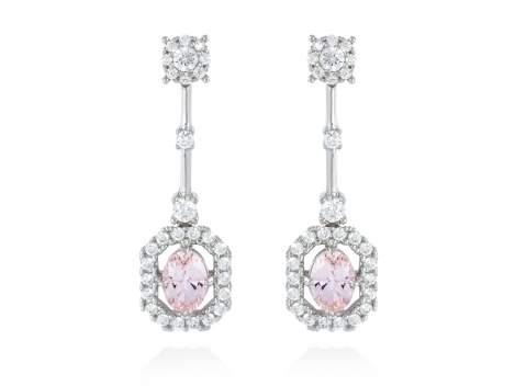 Pendientes de novia BOHO CHIC rosa en plata