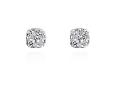 Pendientes PAVÉ forma Antic en Oro blanco 18Kt. y diamantes