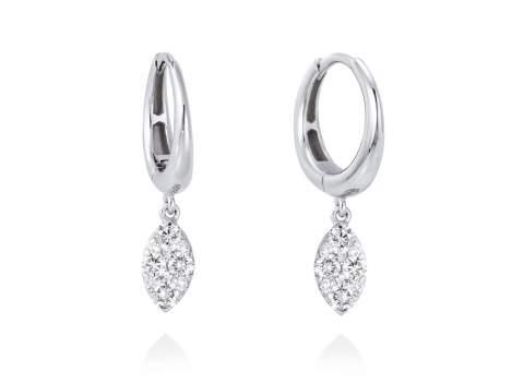 Pendientes ARO con Pavé Marquise en Oro blanco 18Kt. Y diamantes