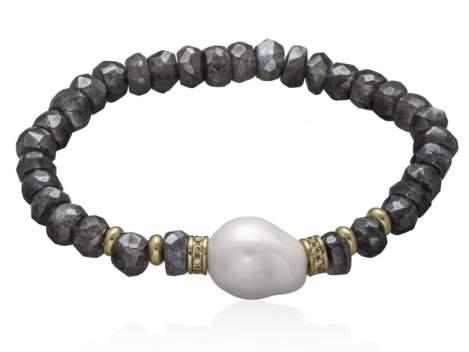 Bracelet LISBOA Pearl in golden Silver