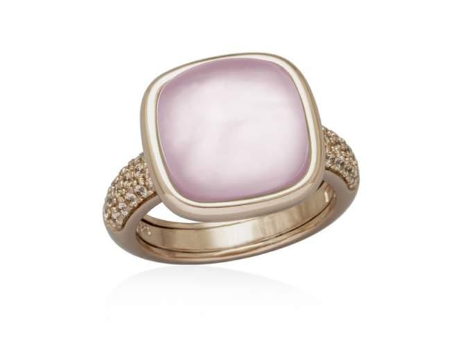 Anillo SWEET ANTIC Rosa en plata Rosa de Marina Garcia Joyas en plata Sortija de plata de primera ley (925) chapada en oro rosa de 18kt con circonita coñac y doblete de cuarzo milky y nácar rosa.