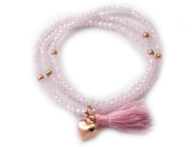 Pulsera ZEN Rosa en plata rosa de Marina Garcia Joyas en plata Pulsera de plata de primera ley (925) chapada en oro rosa de 18kt con cristal de Strass facetado color rosa. (largo: 51 cm.)