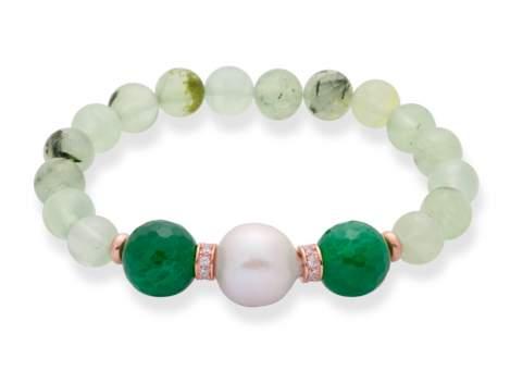 Bracelet CHAKRA Green in rose silver