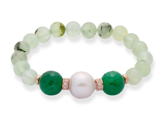 Bracelet CHAKRA Green in rose silver de Marina Garcia Joyas en plata Bracelet in 18kt rose gold plated 925 sterling silver with white cubic zirconia, faceted green quartz, green agate and freshwater cultured pearl.(wrist size: 18 cm.)