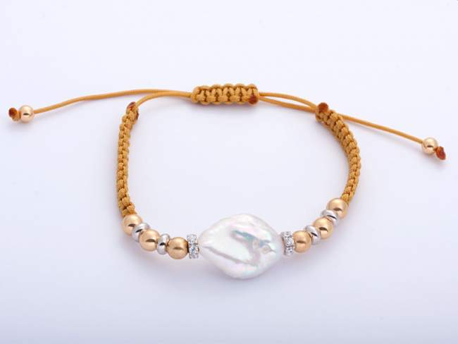 Bracelet IBIZA Yellow in golden silver de Marina Garcia Joyas en plata Bracelet in 18kt yellow gold and rhodium plated 925 sterling silver with white cubic zirconia and freshwater cultured pearl.   (extensible measure: from 15 to 23 cm.)