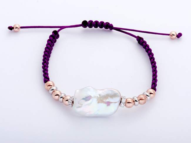 Bracelet IBIZA Purple in rose silver de Marina Garcia Joyas en plata Bracelet in 18kt rose gold and rhodium plated 925 sterling silver with white cubic zirconia and freshwater cultured pearl.   (extensible measure: from 15 to 23 cm.)