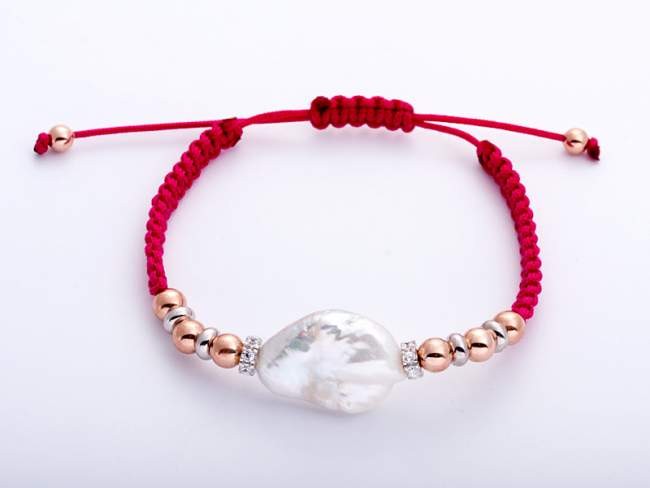Bracelet IBIZA Fuchsia in rose silver de Marina Garcia Joyas en plata Bracelet in 18kt rose gold and rhodium plated 925 sterling silver with white cubic zirconia and freshwater cultured pearl.  (extensible measure: from 15 to 23 cm.)