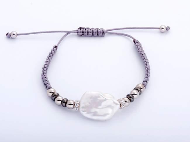 Armband IBIZA Grau in silber de Marina Garcia Joyas en plata Armband in Silber (925) rhodiniert und Ruthenium mit Zirkonia weiß und Süßwasser-Zuchtperle. (erweiterbares Maß: von 15 bis 23 cm.)