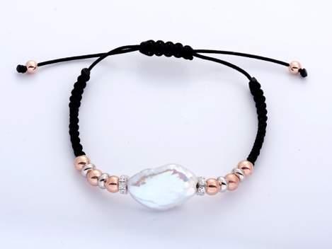 Bracelet IBIZA Black in rose silver