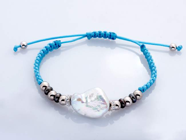 Bracelet IBIZA Blue in silver de Marina Garcia Joyas en plata Bracelet in ruthenium and rhodium plated 925 sterling silver with white cubic zirconia and freshwater cultured pearl.(extensible measure: from 15 to 23 cm.)