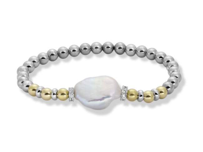 Bracelet IBIZA Pearl in golden silver de Marina Garcia Joyas en plata Bracelet in 18kt yellow gold and rhodium plated 925 sterling silver with white cubic zirconia and freshwater cultured pearl. (wrist size: 18 cm.)