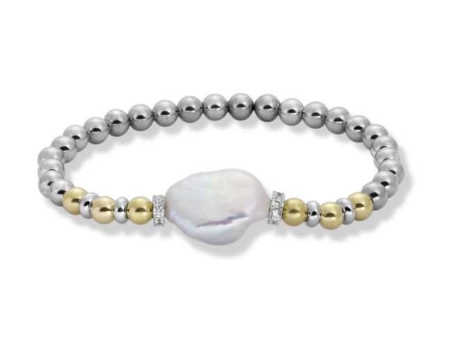 Pulsera IBIZA Perla en plata dorada de Marina Garcia Joyas en plata Pulsera de plata de primera ley (925) con baño de rodio y chapado en oro amarillo de 18kt con circonita blanca y perla cultivada. (medida de muñeca: 18 cm.)